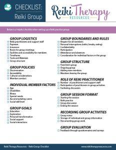 Reiki Group Checklist